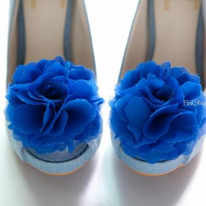 1 pair (Set of 2) Royal Blue Chiffo..