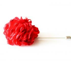ESTHER-Red Men's flower Boutonniere/Buttonhole for wedding,Lapel pin,hat pin,tie pin