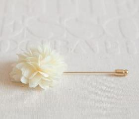 KAYLA-Cream Men's flower Boutonniere / Buttonhole for wedding,Lapel pin,tie pin