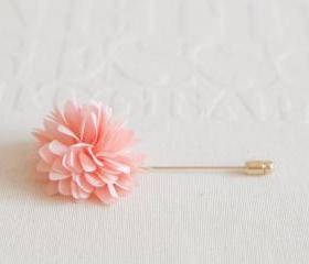 KAYLA-Peach pink Men's flower Boutonniere / Buttonhole for wedding,Lapel pin,tie pin