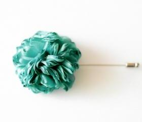 ESTHER-TEAL GREEN Men's flower Boutonniere/Buttonhole for wedding,Lapel pin,hat pin,tie pin