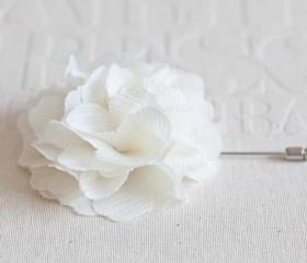70mm IVORY Chiffon Men's Flower Boutonniere / Buttonhole For Wedding,Lapel Pin,Tie Pin