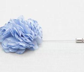ESTHER-Light Blue Men's flower Boutonniere/Buttonhole for wedding,Lapel pin,hat pin,tie pin
