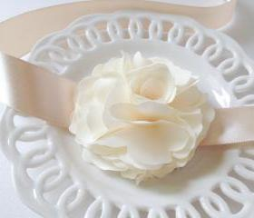 Romantic and elegance Ruffle Light champagne silky flower with champagne satin Ribbon wrist