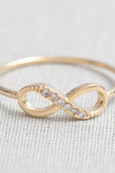 US 9 Size-Delicate Infinity Ring in Gold only