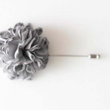 ESTHER-Grey Men's flower Boutonniere/Buttonhole for wedding,Lapel pin,hat pin,tie pin
