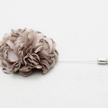 ESTHER-taupe Brown Men's flower Boutonniere/Buttonhole for wedding,Lapel pin,hat pin,tie pin