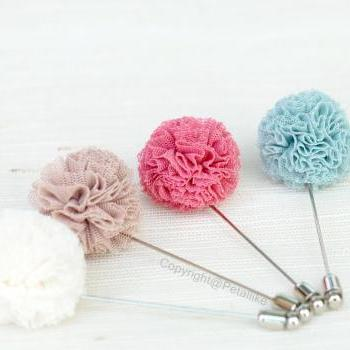Pom pom tulle pink Men's Flower Boutonniere / Buttonhole For Wedding,Lapel Pin,Tie Pin