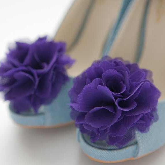 1 Pair(Set of 2)-deep purple-Chiffon flower shoe clips for bridal wedding/Choose your color