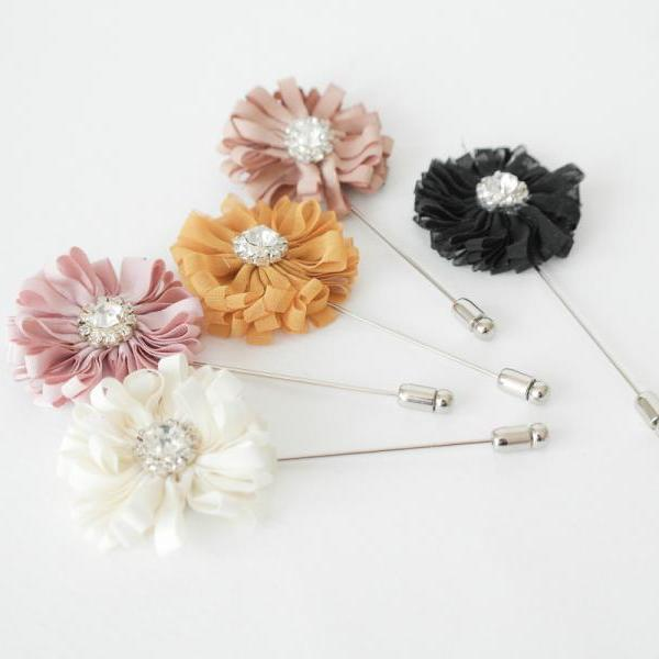 Crystal SIMON-Men's flower Boutonniere/Buttonhole for wedding,Lapel pin,hat pin,tie pin.